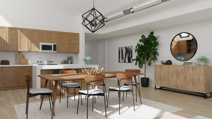 Open Plan: Urban Modern Living and Dining Room Design View 2 By Spacejoy