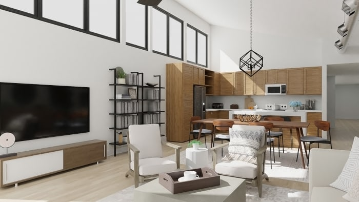 Open Plan: Urban Modern Living and Dining Room Design View 3 By Spacejoy
