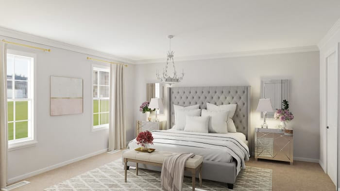 Elegant Glam Bedroom With Mirrored Furniture  Design View 2 By Spacejoy