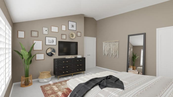 Get Inspiration From A Urban Modern Boho Bedroom With Bold Accents Design By Spacejoy
