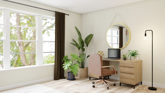 A Multi-Purpose Boho Glam Home Office Read for Virtual Meetings Design View 3 By Spacejoy