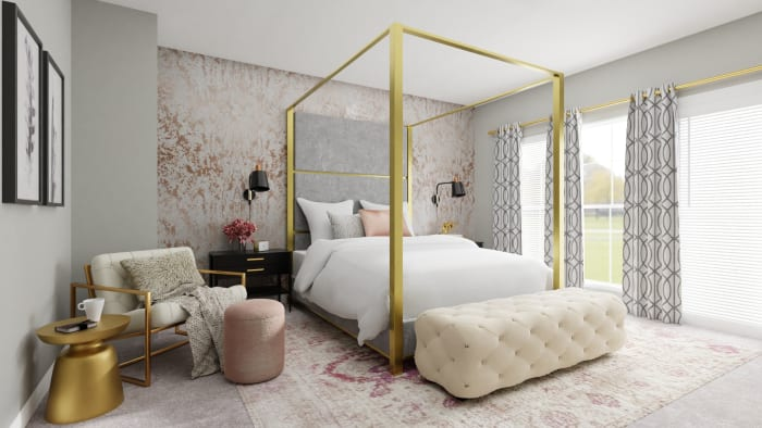 Every Inch of This Bedroom Screams Pure Glam Design View 2 By Spacejoy