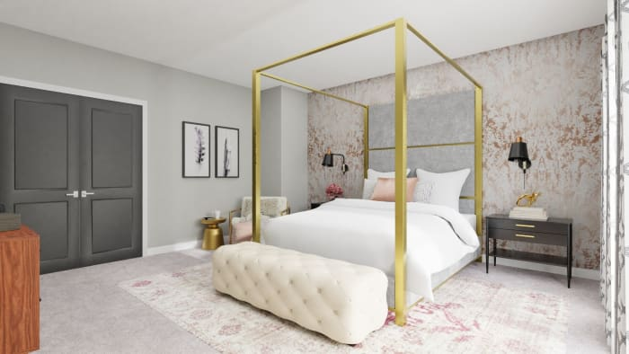 Every Inch of This Bedroom Screams Pure Glam Design View 3 By Spacejoy