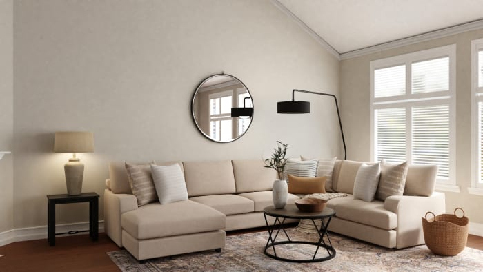 Feel Calm in This Transitional Boho Living Room Design View 2 By Spacejoy