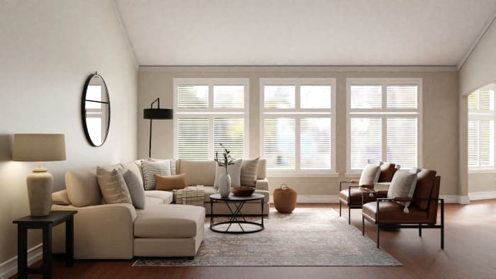 Feel Calm in This Transitional Boho Living Room Design View 3 By Spacejoy