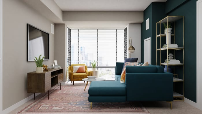 A Sophisticated Mid-Century Open Living Room Space Design View 5 By Spacejoy