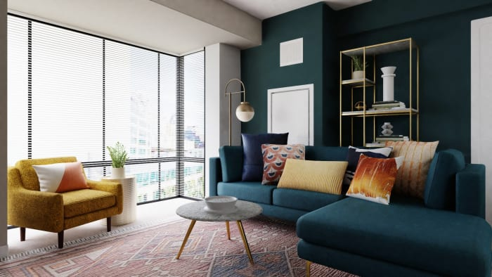 A Sophisticated Mid-Century Open Living Room Space Design View 2 By Spacejoy