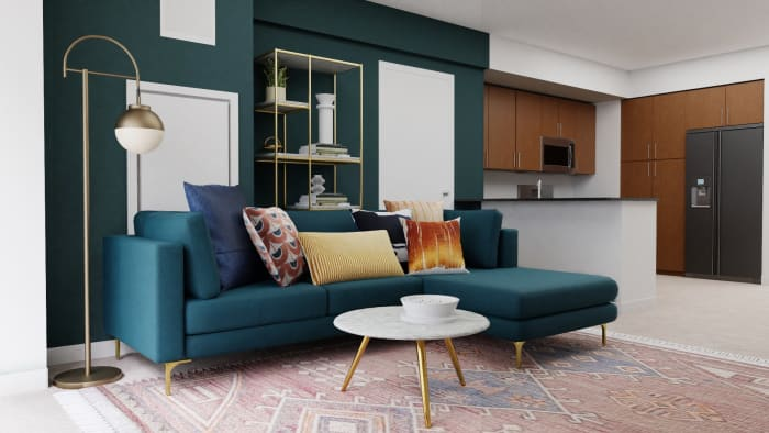 A Sophisticated Mid-Century Open Living Room Space Design View 3 By Spacejoy