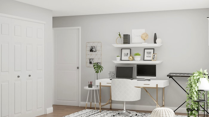A Multifunctional Home Office in Monochrome