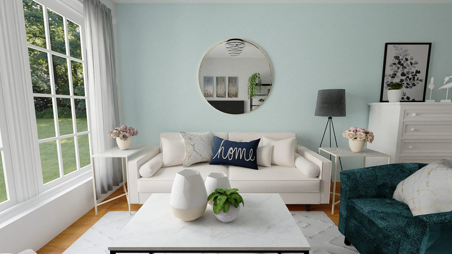 Beautiful Aqua Accents Urban Coastal Living Room Design By Spacejoy