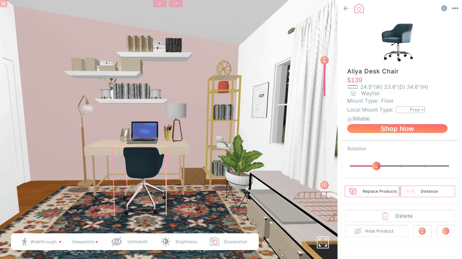 3D Design For Adriana Pachas New Home Office View
