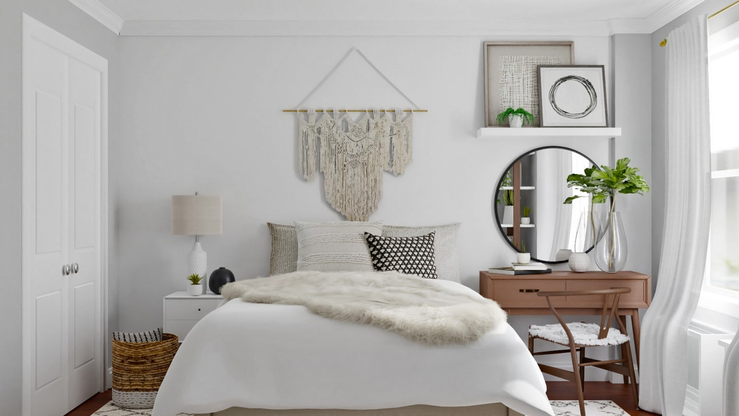 Monochromatic Color Palette: Boho Eclectic Bedroom Design By Spacejoy