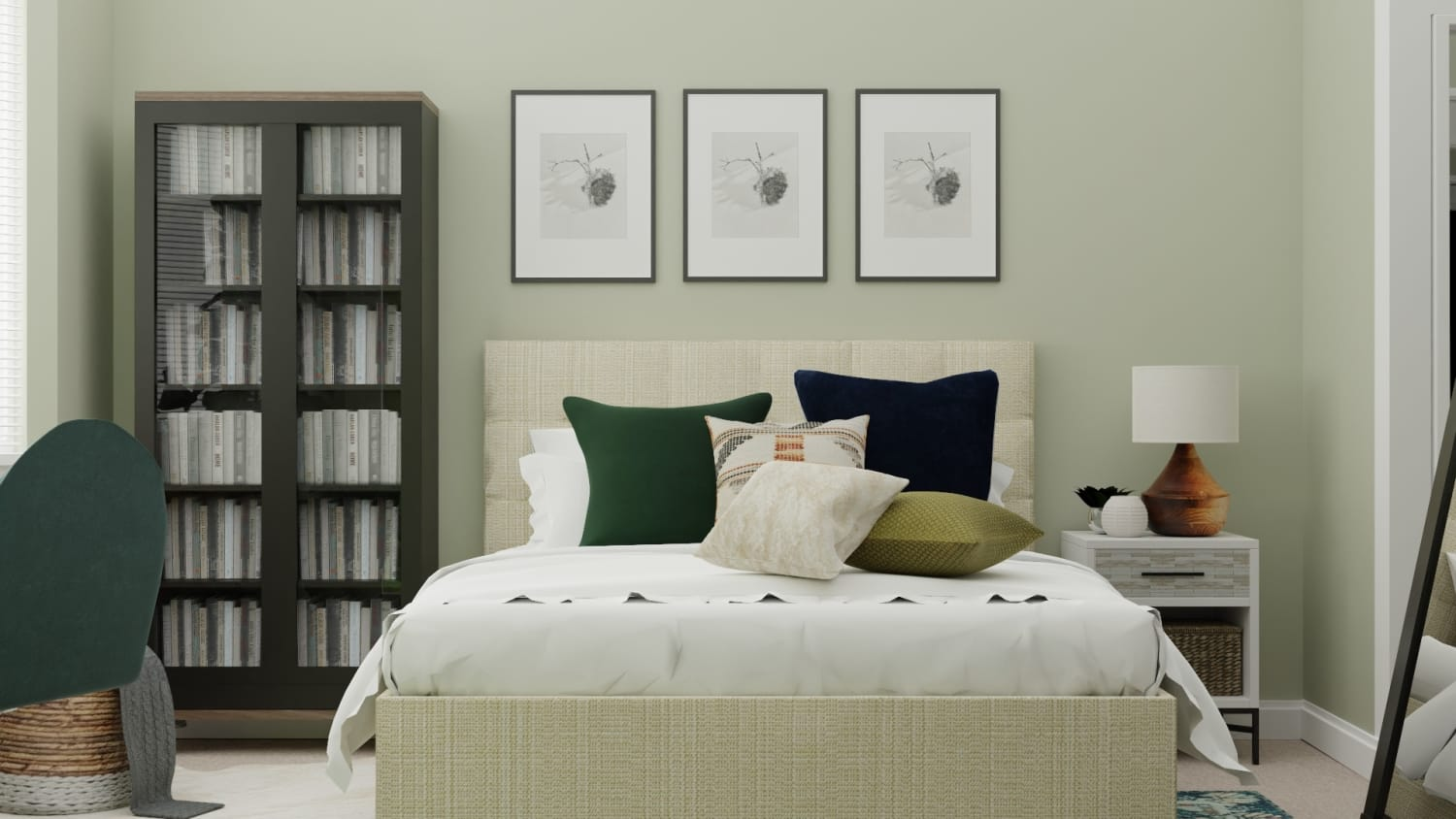 Transitional Glam Bedroom for Tweens With Emerald  Accents Design By Spacejoy