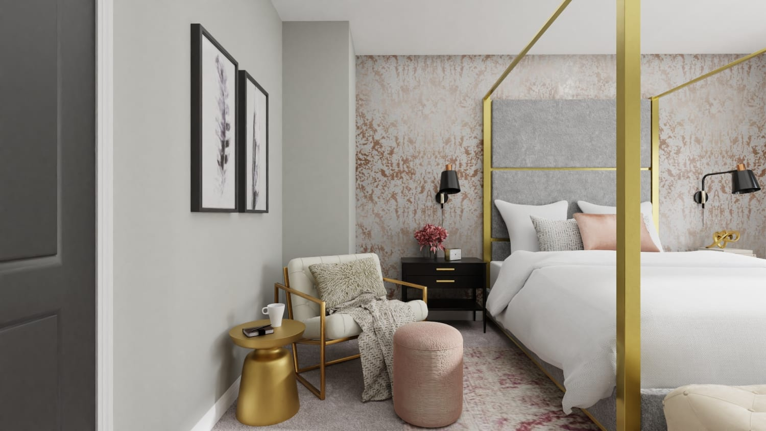 Every Inch of This Bedroom Screams Pure Glam Design By Spacejoy