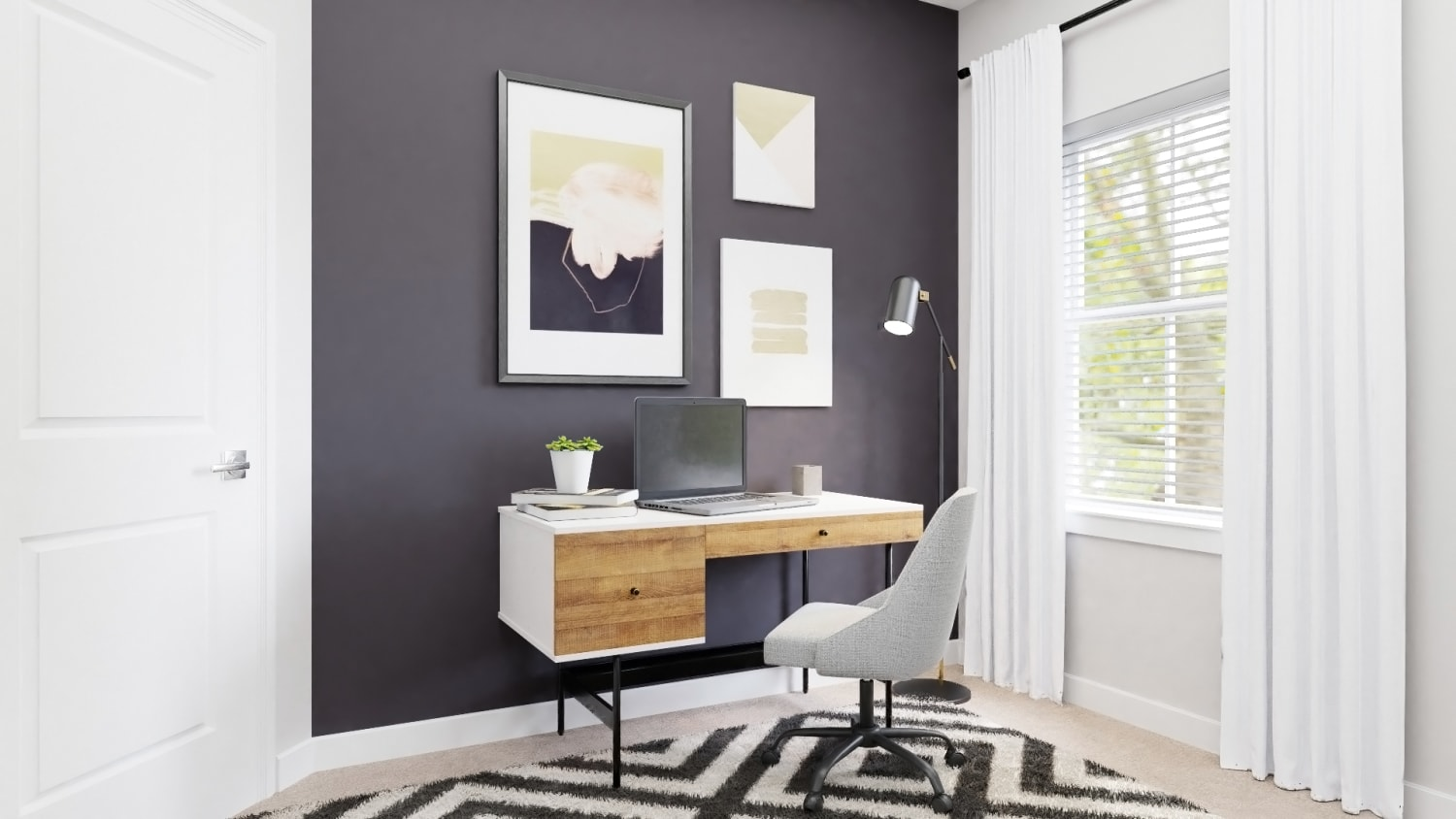 Mid Century Modern Home Office With Black Accent Wall By Spacejoy