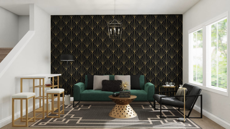 Dramatic Art-Deco Living Room