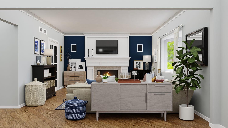 A Transitional Coastal Living Room