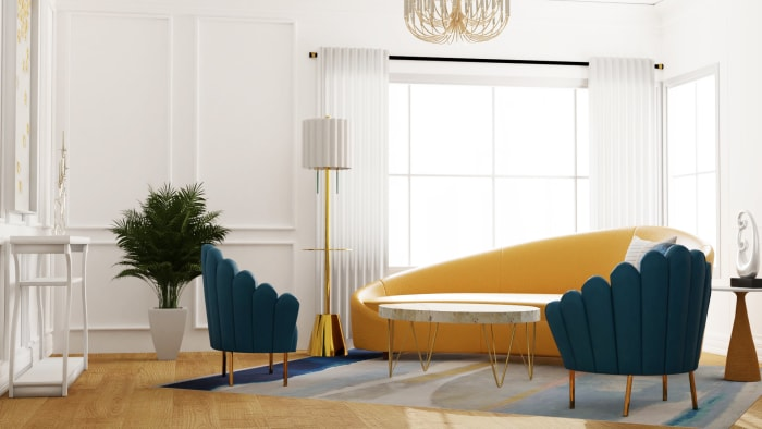Jewel Tones Glamorous Living Room Design View 3 By Spacejoy