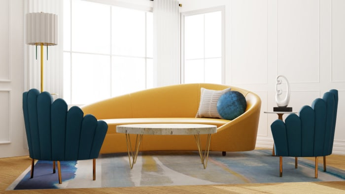 Jewel Tones Glamorous Living Room Design View 2 By Spacejoy