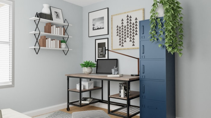 Multi Purpose Office: Modern Urban Home Office Design View 3 By Spacejoy