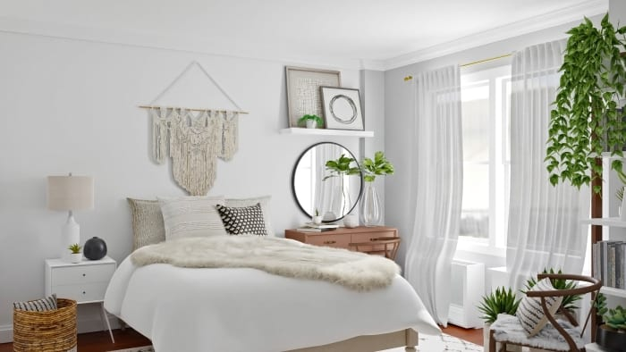 Monochromatic Color Palette: Boho Eclectic Bedroom Design View 2 By Spacejoy