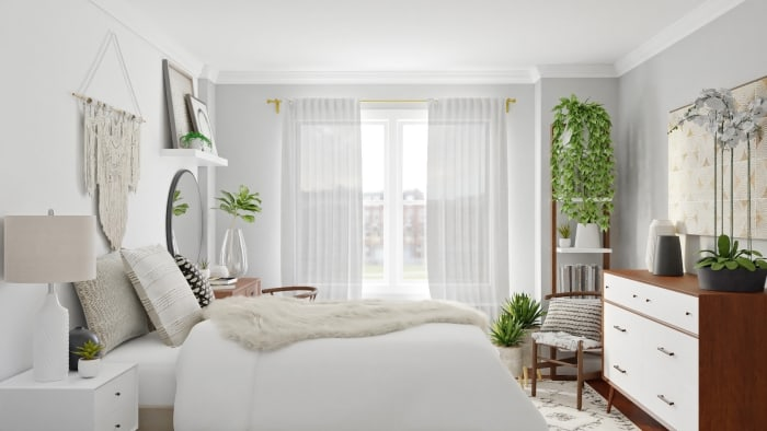 Monochromatic Color Palette: Boho Eclectic Bedroom Design View 3 By Spacejoy
