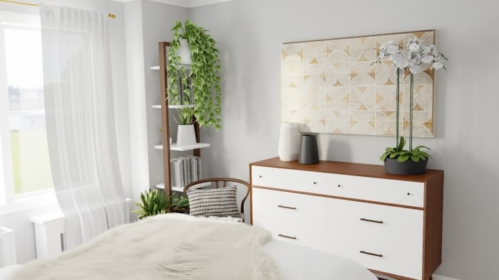 Monochromatic Color Palette: Boho Eclectic Bedroom Design View 4 By Spacejoy