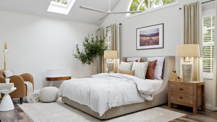 A Modern Transitional Bedroom Design with Nature Touches Design View 2 By Spacejoy