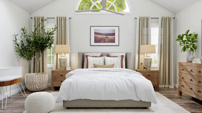 A Modern Transitional Bedroom Design with Nature Touches Design View 3 By Spacejoy