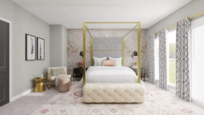 Every Inch of This Bedroom Screams Pure Glam Design View 4 By Spacejoy