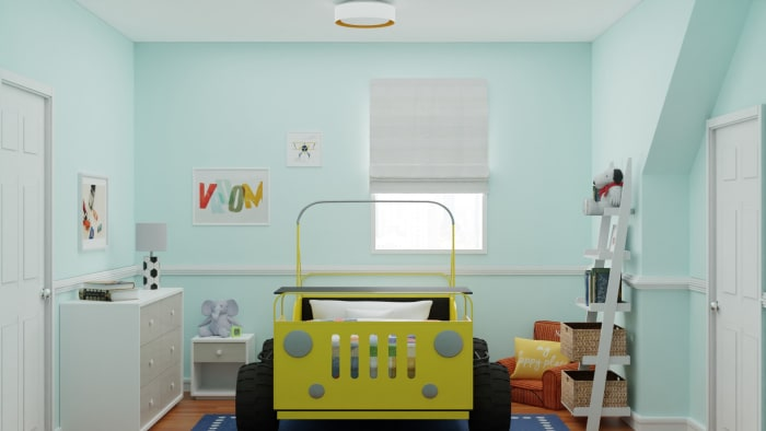 Noah's bedroom comes with a car bed, designed in under 2K