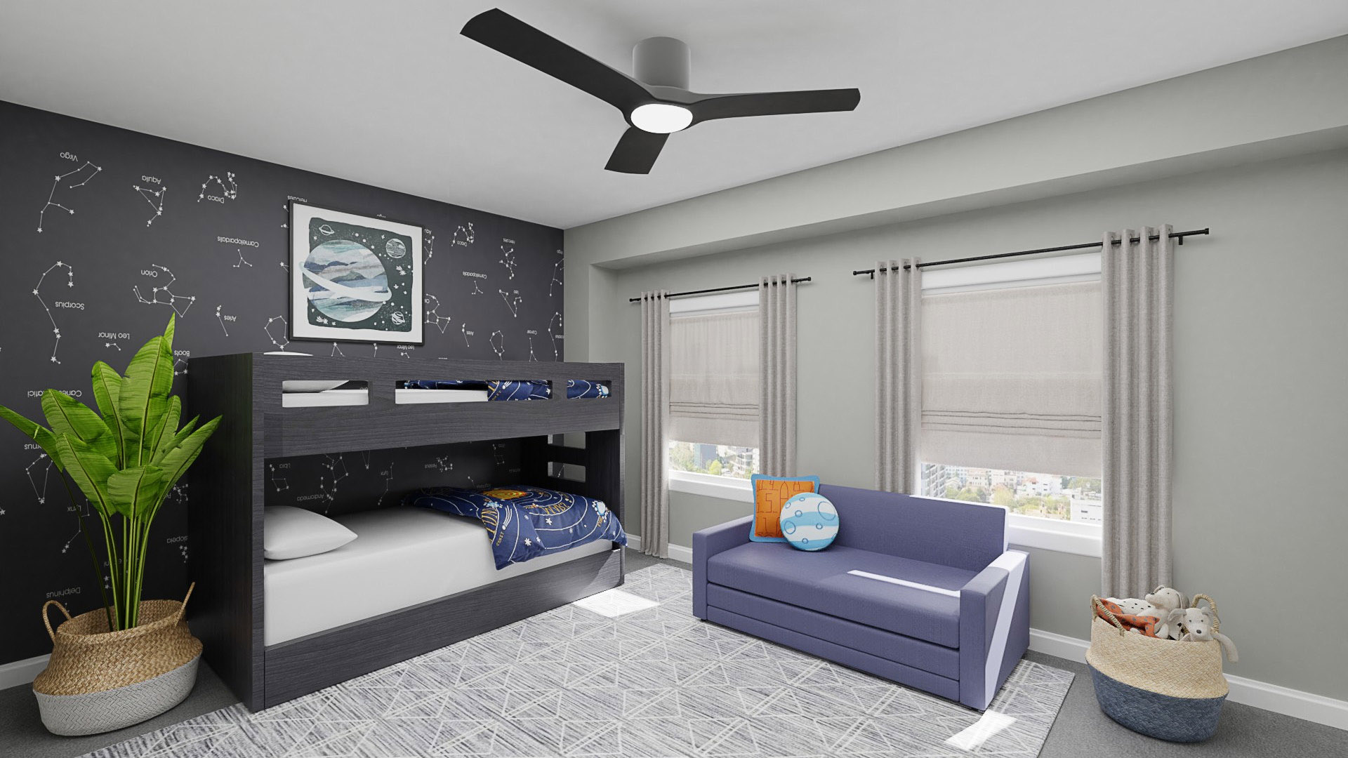 boys outer space bedroom