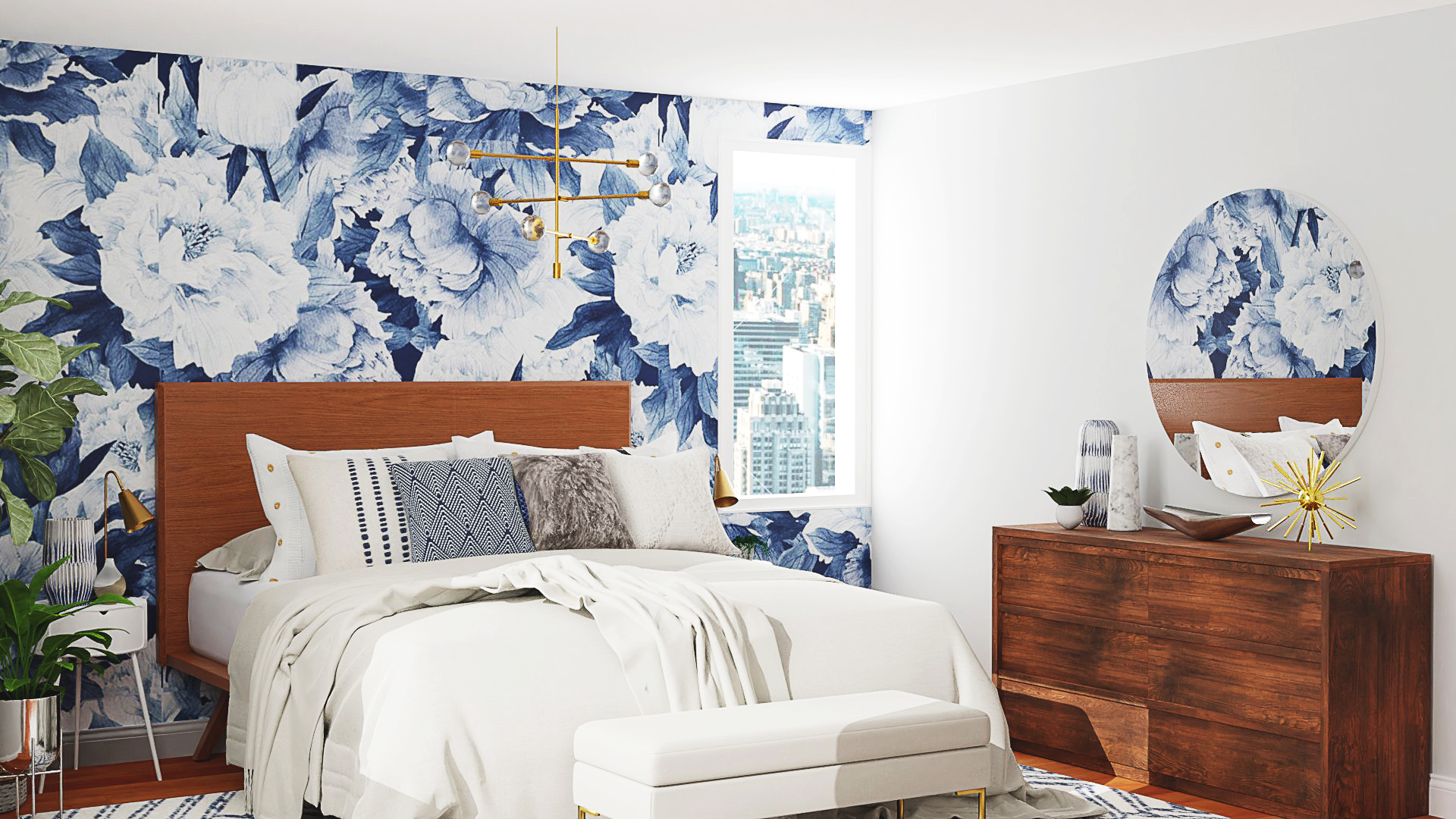Bedroom with bold wall paper for Spring