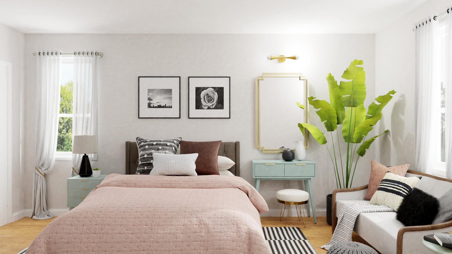 Bedroom in pastel colors