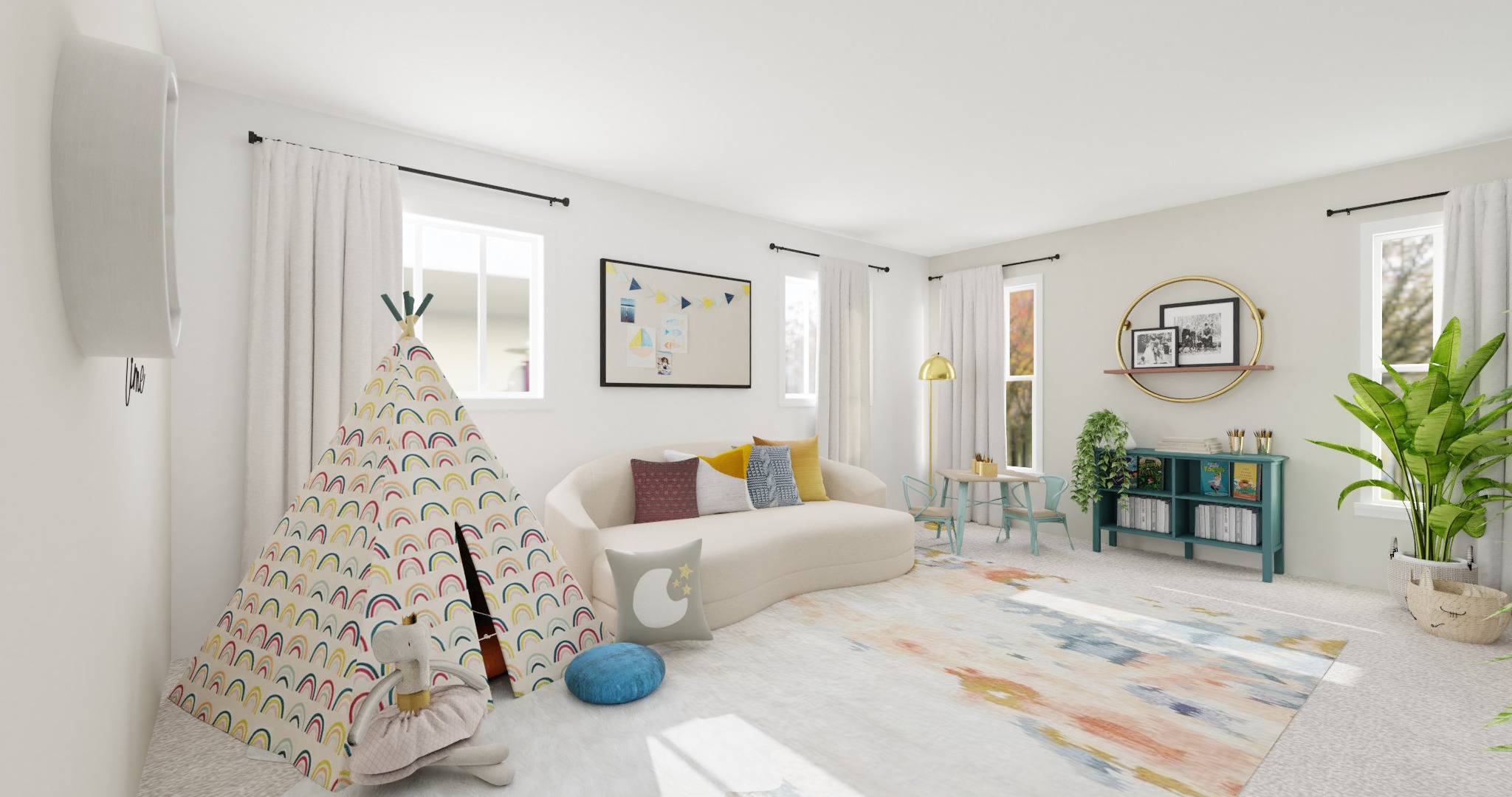 white kids playroom with pastel accents
