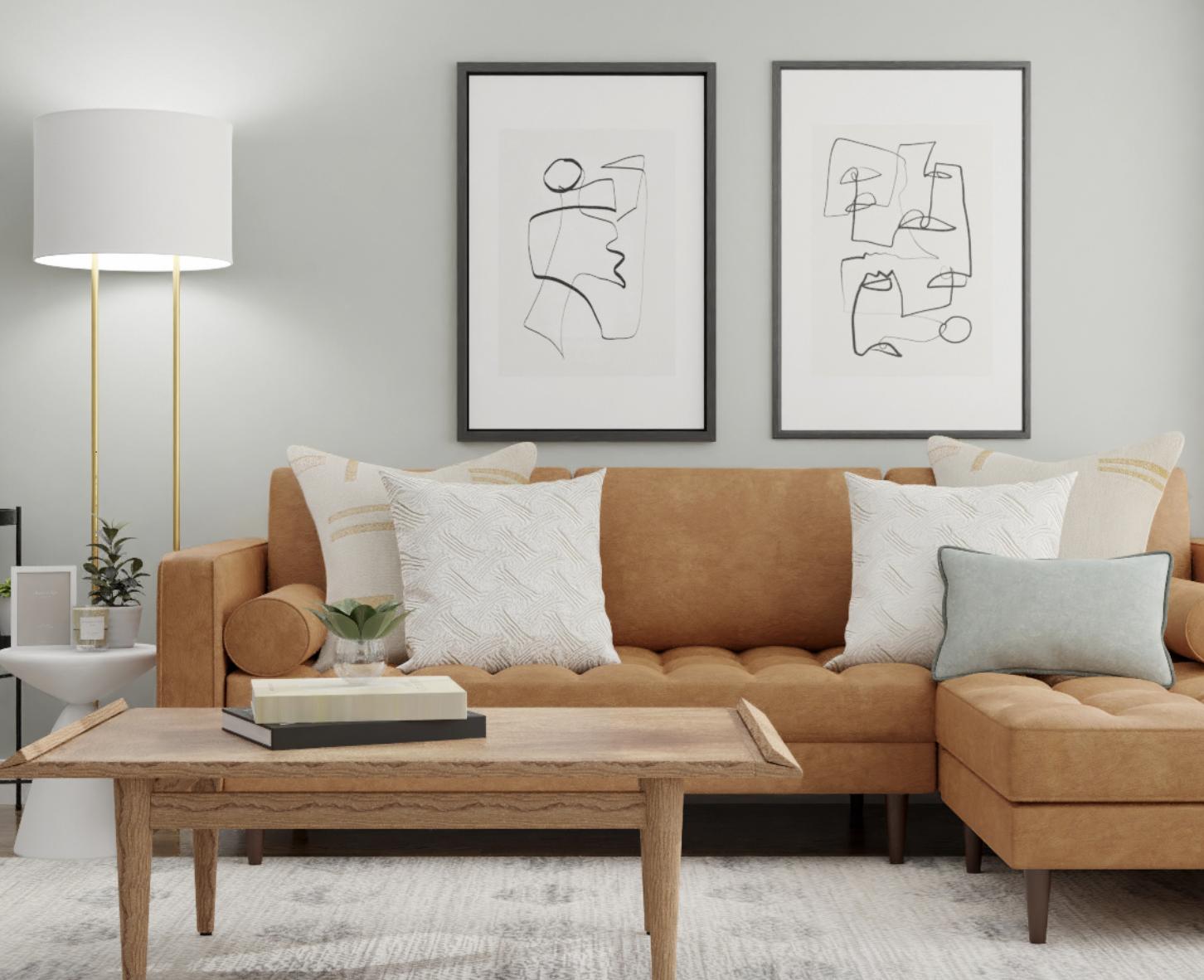 Spacejoy Mid-Century Modern Living Room