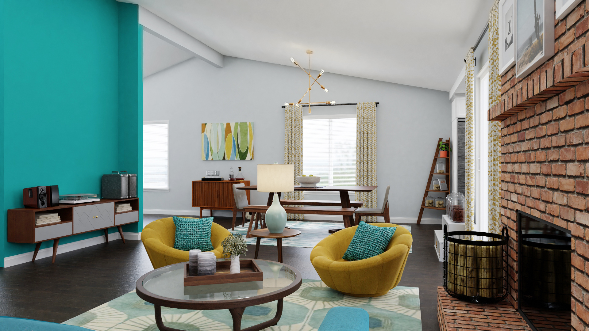 Blue Living Room Accent Wall