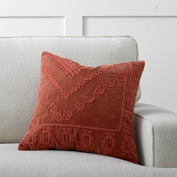 Embroidered Velvet Pillow from Grandin Road