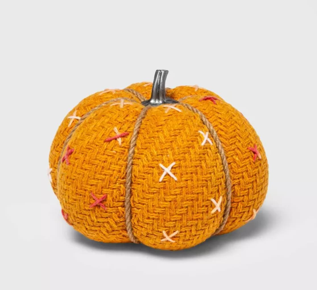 Medium Tweed with Stitch Fabric Harvest Pumpkin from Target