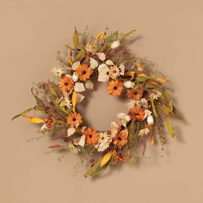 Faux Harvest Flower Wreath from West Elm