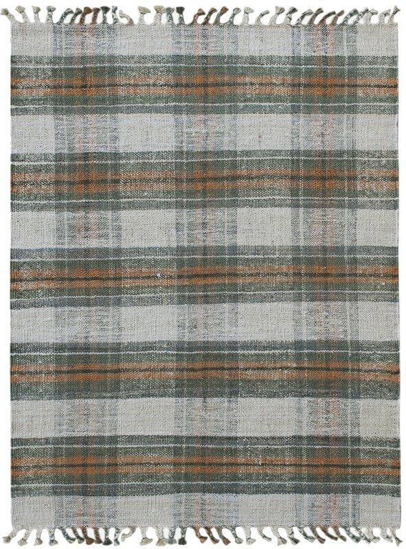 One Plaid Handmade Flatweave Jute Green Area Rug by Wayfair
