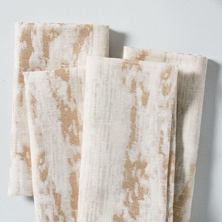 Bark Textured Jacquard Napkins, Set of 4, West Elm