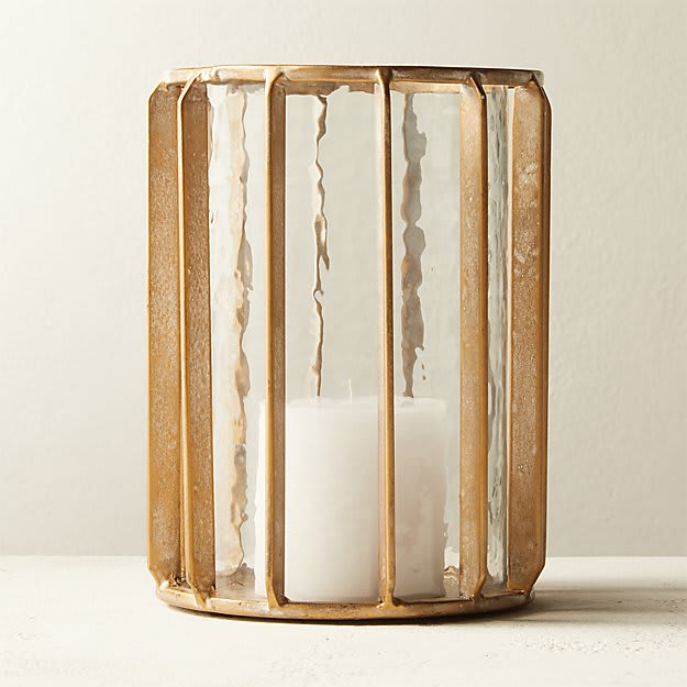 Gamma Glass and Brass Candle Holder
