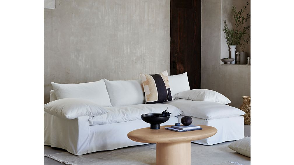 Pacific Natural Wood Oval Coffee Table_Crate & Barrel