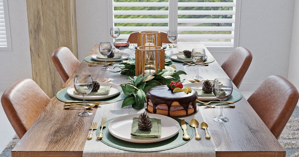 Gold and Green Holiday Tablescape