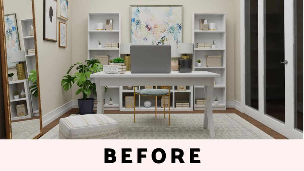 Home Office Design in neutral color