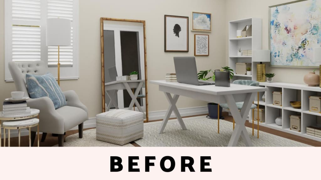 Home office in neutral color