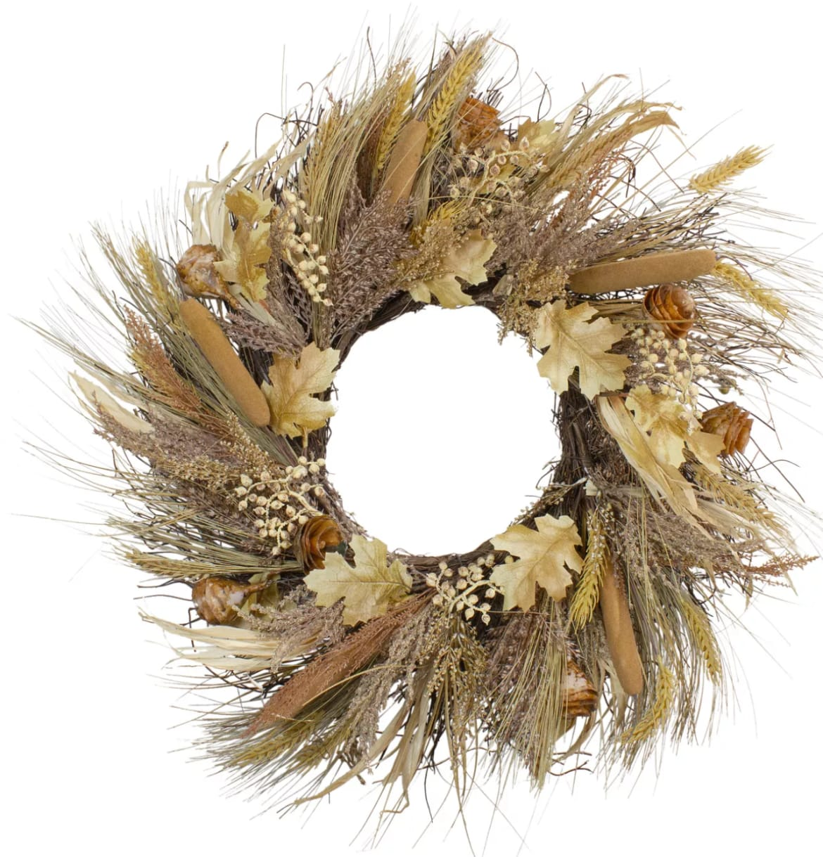 Northlight Cattail and Wheat Twig Artificial Wreath from Target