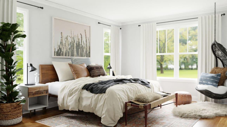 Spacejoy Rustic Boho Bedroom