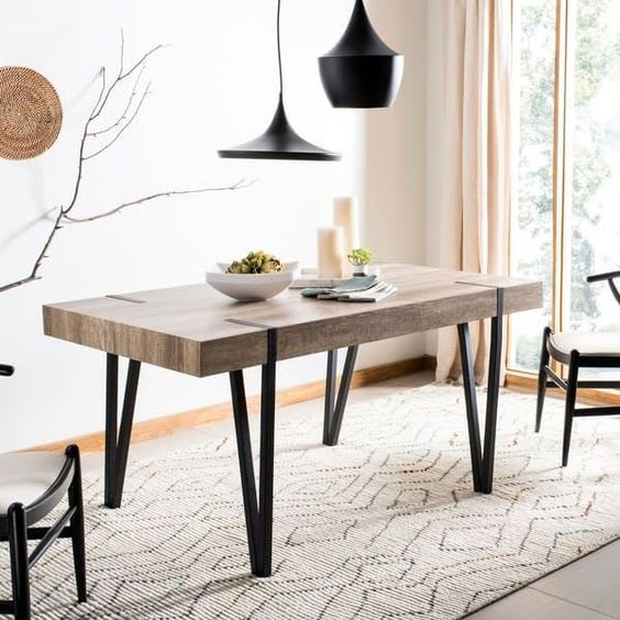 Safavieh Alyssa Brown Rustic Mid-Century Dining Table